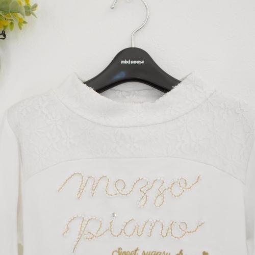 メゾピアノ mezzopiano S 140cm 長袖 Tシャツ 白 ホワイト レース ロゴ 刺繍 ゴールド トップス_画像2
