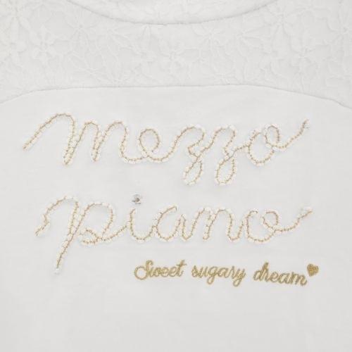 メゾピアノ mezzopiano S 140cm 長袖 Tシャツ 白 ホワイト レース ロゴ 刺繍 ゴールド トップス_画像3