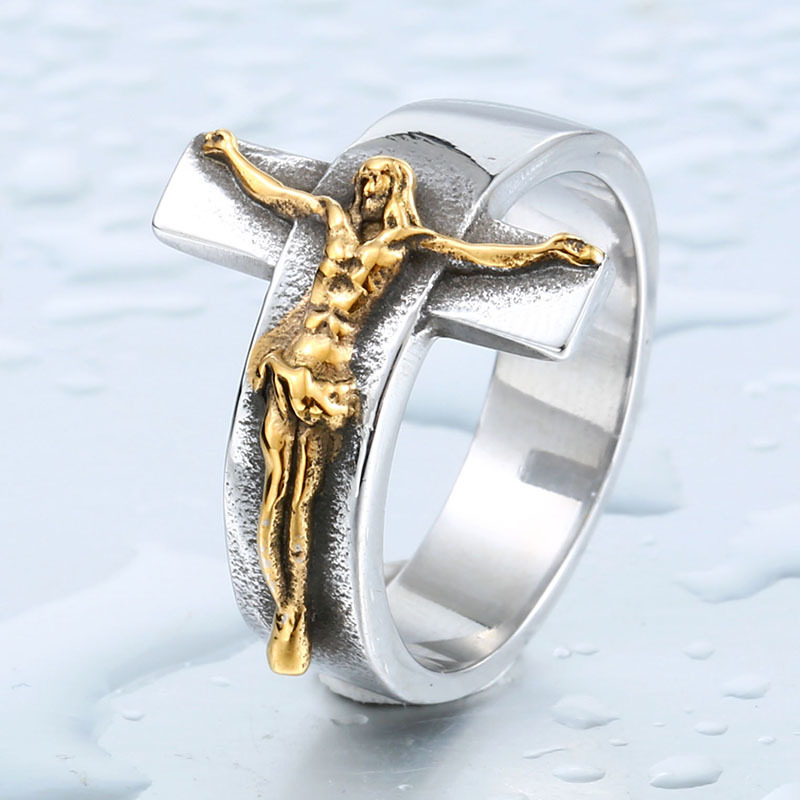 【特A品】【送料無料】※高級感 アクセサリー クロス リング イエス・キリスト (18号~27号) ステンレス メンズ 指輪 ホワイトゴールド