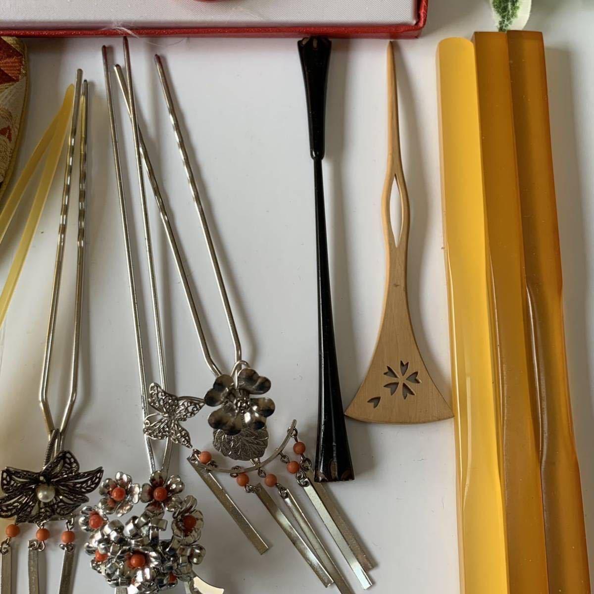 かんざし くし 和装小物 アンティーク レトロ 簪 櫛 螺鈿細工 鼈甲 螺鈿 着物 髪飾り_画像7