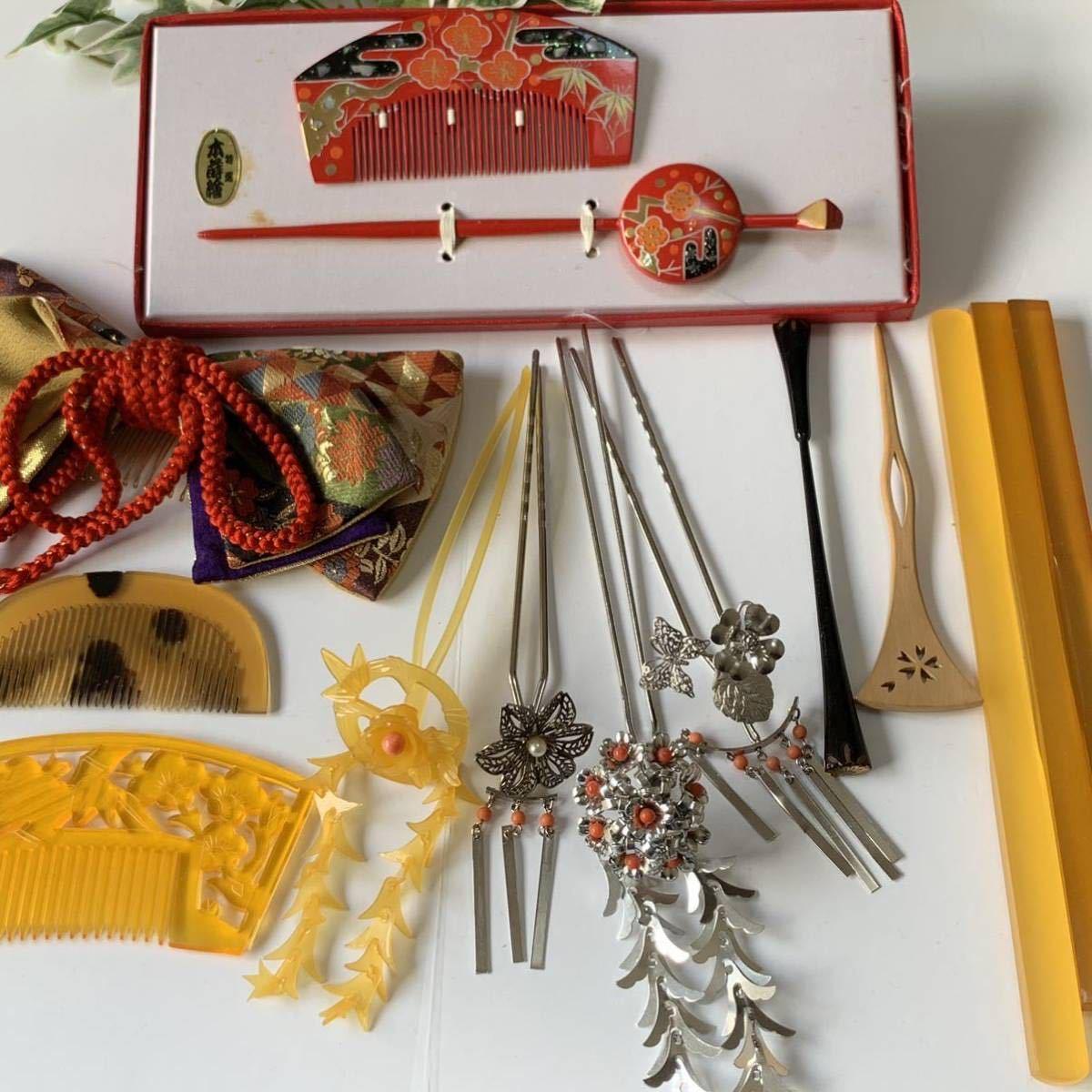 かんざし くし 和装小物 アンティーク レトロ 簪 櫛 螺鈿細工 鼈甲 螺鈿 着物 髪飾り_画像8