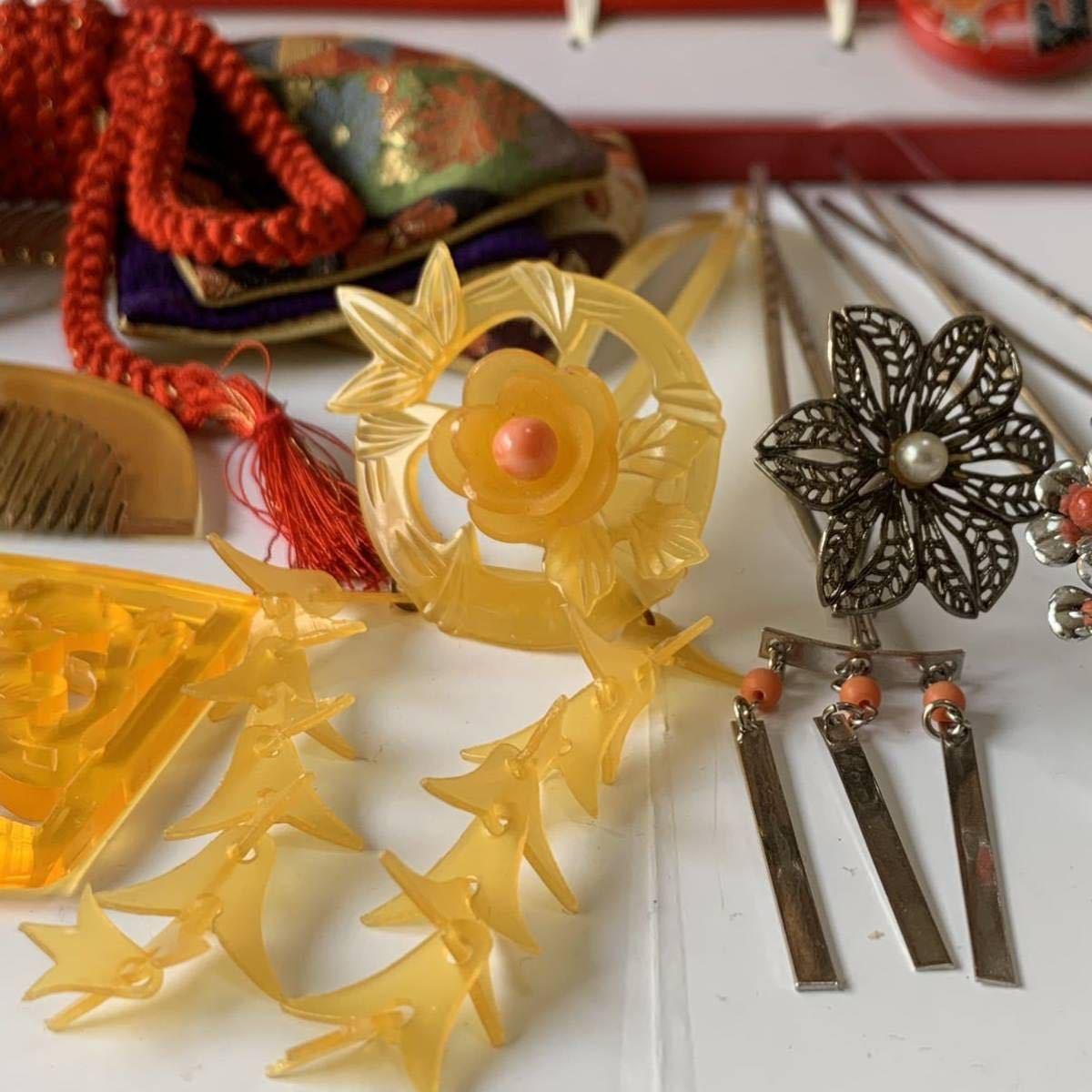 かんざし くし 和装小物 アンティーク レトロ 簪 櫛 螺鈿細工 鼈甲 螺鈿 着物 髪飾り_画像4