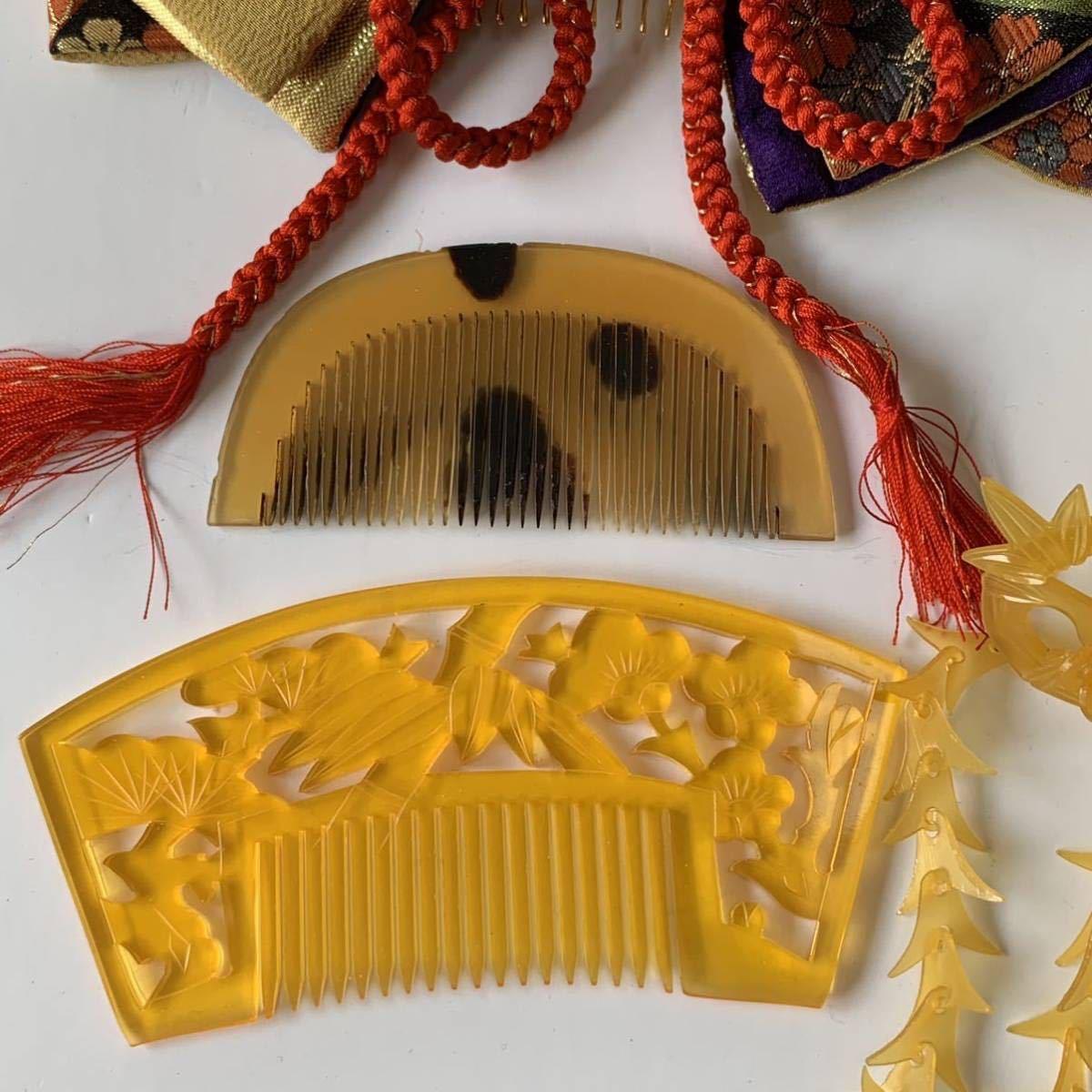 かんざし くし 和装小物 アンティーク レトロ 簪 櫛 螺鈿細工 鼈甲 螺鈿 着物 髪飾り_画像3