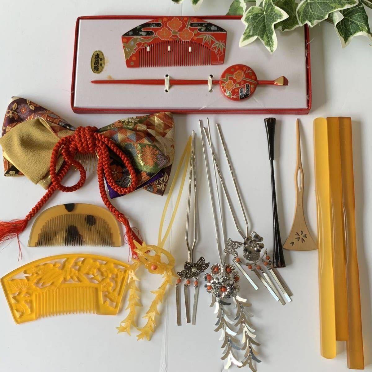 かんざし くし 和装小物 アンティーク レトロ 簪 櫛 螺鈿細工 鼈甲 螺鈿 着物 髪飾り_画像1