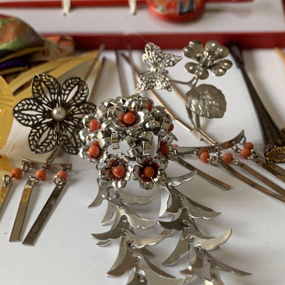 かんざし くし 和装小物 アンティーク レトロ 簪 櫛 螺鈿細工 鼈甲 螺鈿 着物 髪飾り_画像5