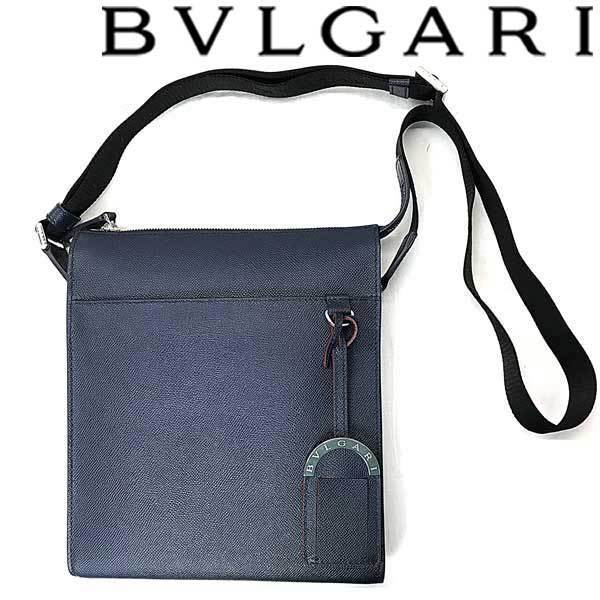 ★BVLGARI ブルガリ メンズ 型押しレザー メッセンジャーバッグ デニムサファイア 39389_画像1