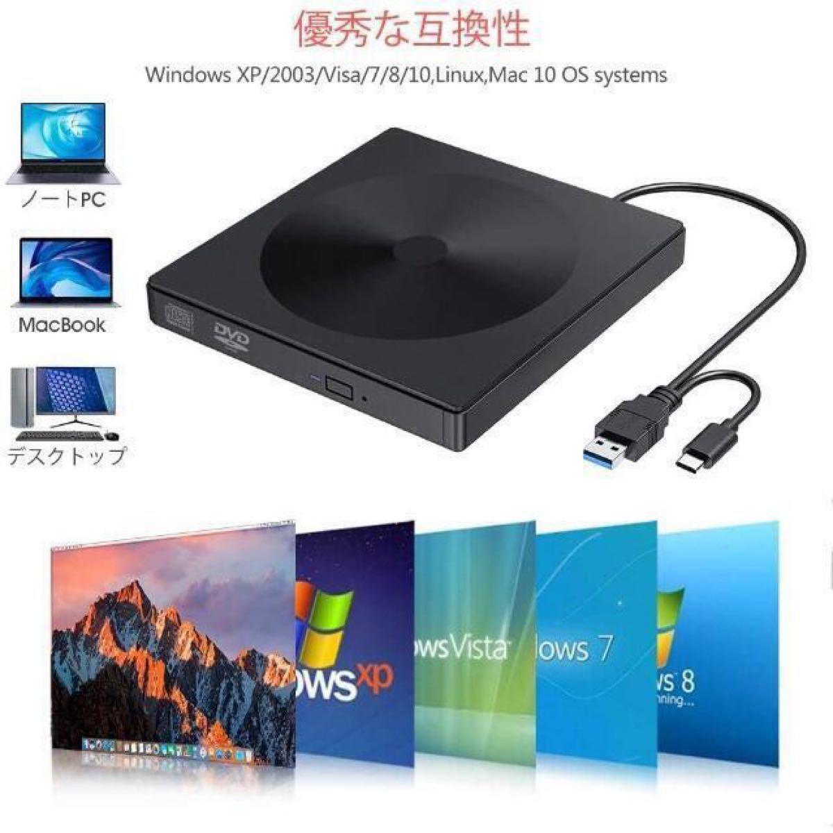 USB 3.0 Type-C 外付け CD DVD ドライブ DVD±RW CD-RW 二種インターフェース搭載