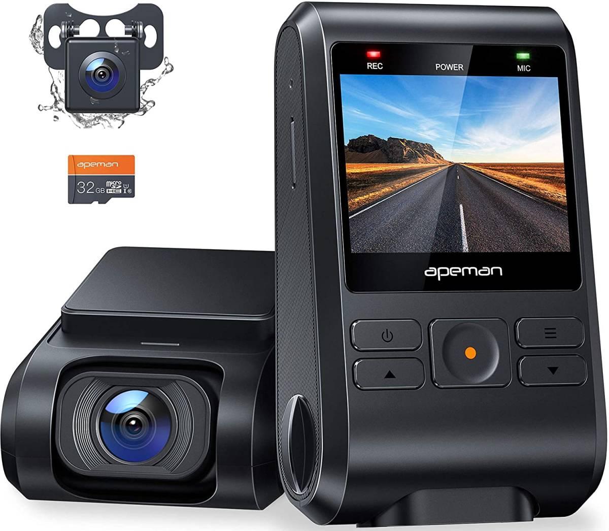 ☆未使用☆【2021進化版】 APEMAN ドライブレコーダー 前後カメラ 32Gカード付き 200万画素 IPSパネル 1080PフルHD 2カメラ 170度広角 _画像1