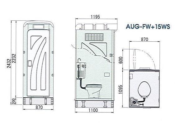 □【兵SO3-30224-4W3ヨ定#R187】売れてます。仮設トイレ水洗式 洋式 新品 受注後納期14日後 AUG-FW+15WS 消臭剤20L別売り_画像2