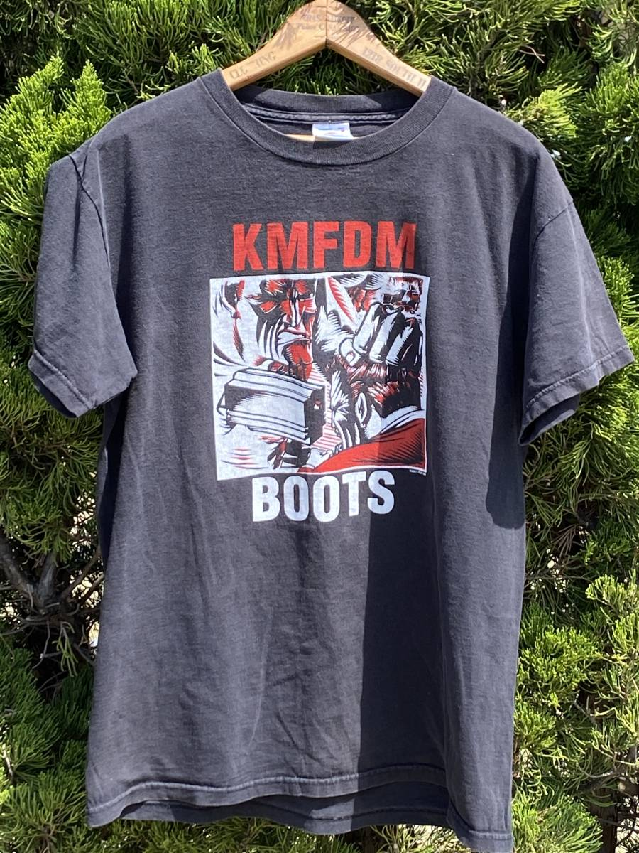KMFDM Tシャツ◆BOOTS◆M◆2001年◆ロックバンドTシャツ◆ビンテージ◆USA購入◆送料無料!