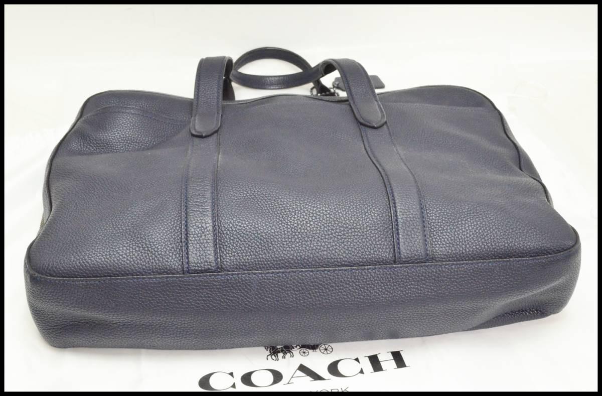 中古 コーチ レザー 2Wayブリーフケース 72318 ネイビー ビジネスバッグ ソフトレザー COACH_画像5