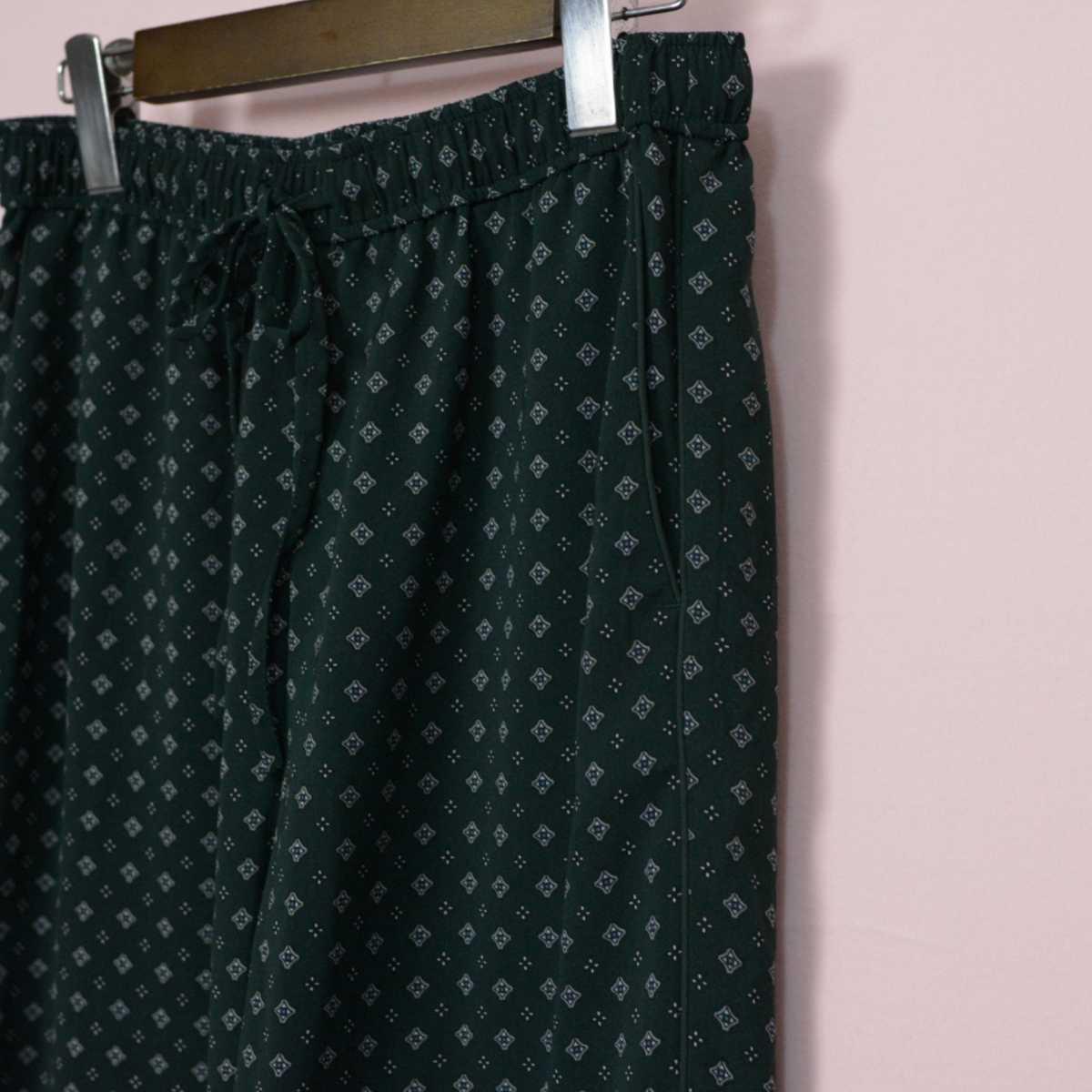 niko and ニコアンド ポリエステ ワイド イージー パンツ 4 大きいサイズ ボトム ウエストゴム 総柄