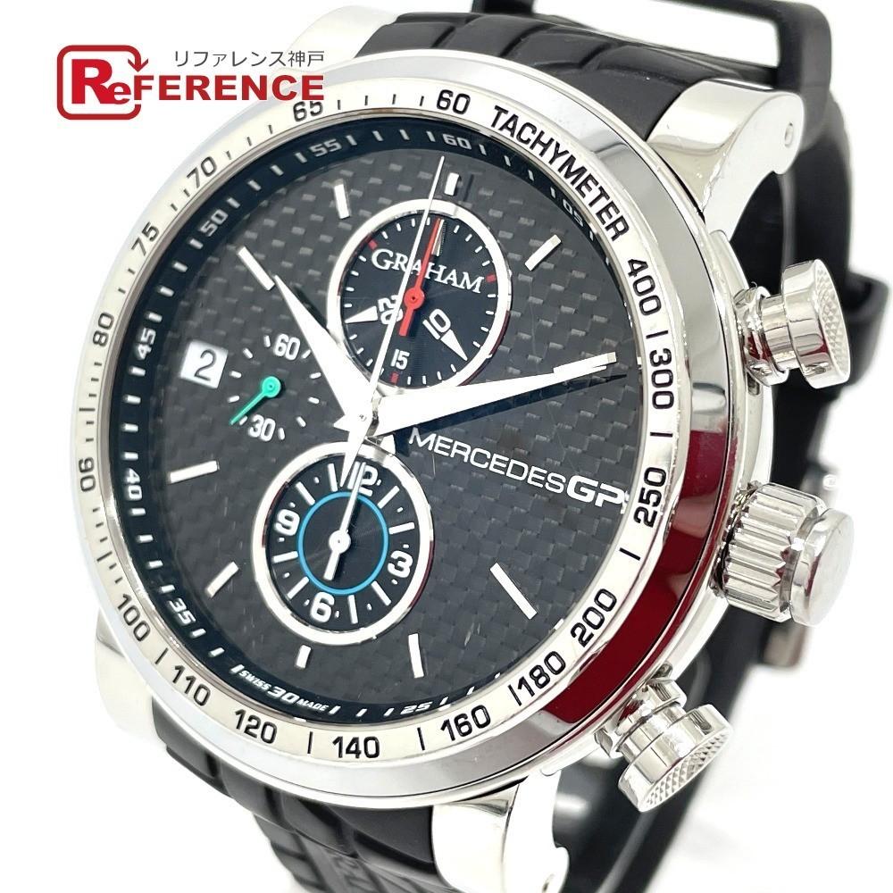 GRAHAM グラハム 2MEBS.B02A メルセデスGP シルバーストーン クロノグラフ デイト 自動巻き メンズ腕時計 SS/ラバーベルト メンズ シルバー