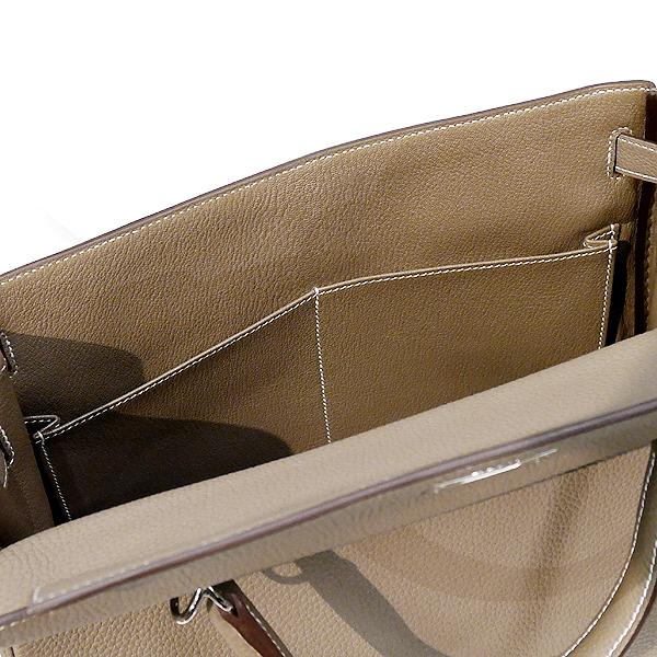 【値下げ】HERMES エルメス ケリー 32 内縫い エトープ(エトゥープ)トゴ シルバー金具 Y刻印 2021年購入 ケリーバッグ 新品 国内正規品_内側にもポケットが御座います。