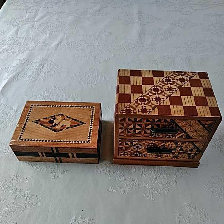 ヴィンテージ 箱根細工 2個 寄木細工 木製 伝統工芸品 小物入 _画像1