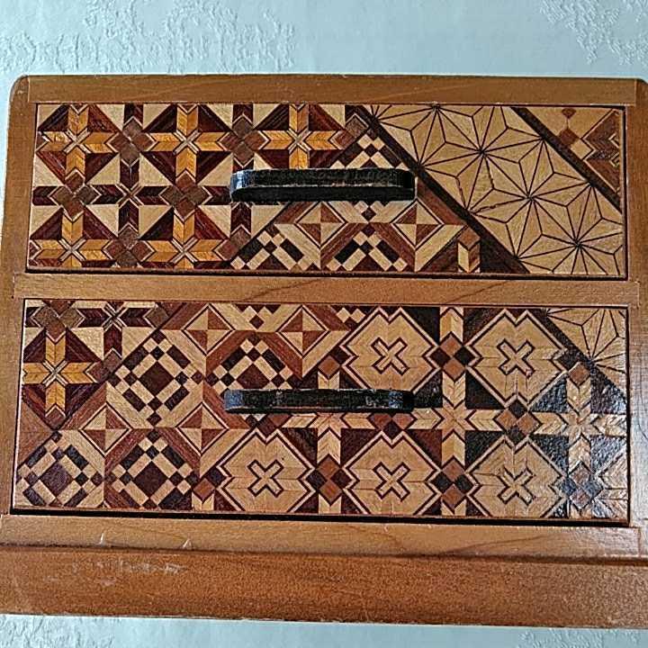 ヴィンテージ 箱根細工 2個 寄木細工 木製 伝統工芸品 小物入 _画像7