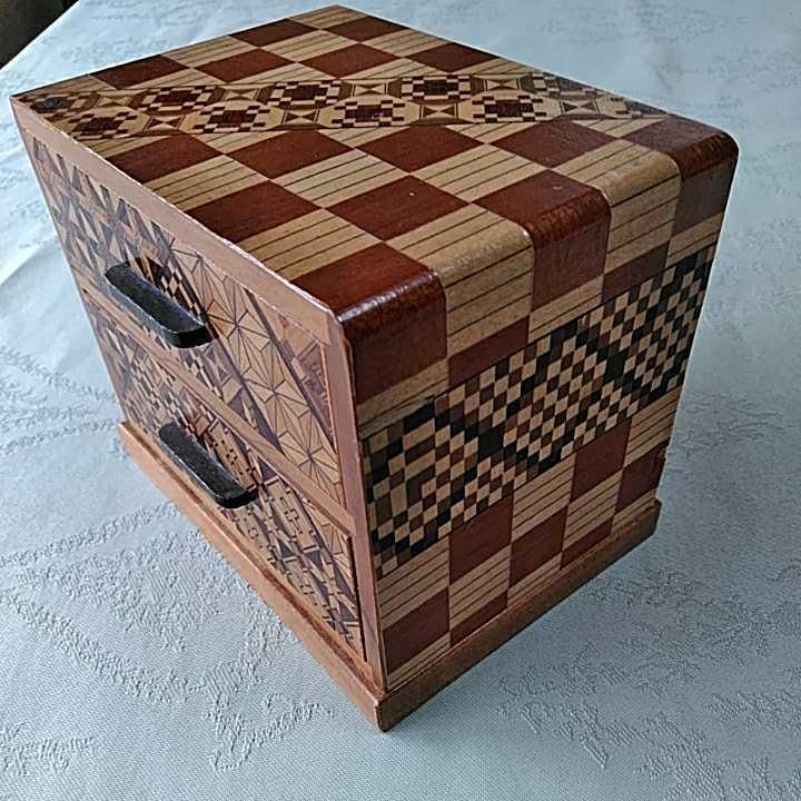ヴィンテージ 箱根細工 2個 寄木細工 木製 伝統工芸品 小物入 _画像6