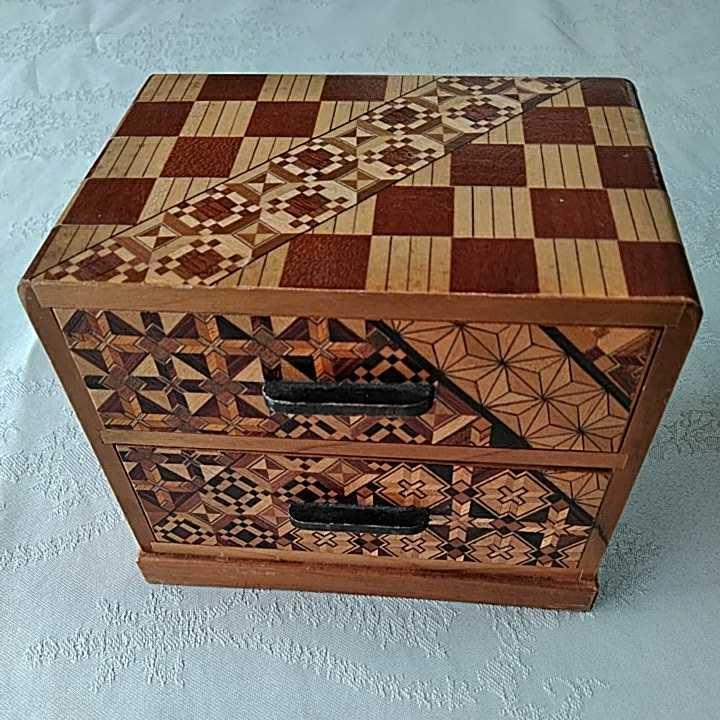 ヴィンテージ 箱根細工 2個 寄木細工 木製 伝統工芸品 小物入 _画像5