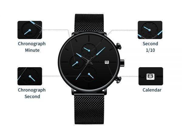◆激安◆メンズ スポーツウォッチ ユニークデザイン 多機能 腕時計 ビッグダイヤル 防水 ステンレス鋼 メッシュ おしゃれ ビジネス_画像8