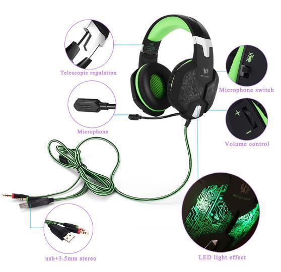 ゲーミングステレオヘッドホン ゲーム ヘッドセット 高音質 マイク LEDライト 手元コントローラー 快適装着 グリーン/緑 PC/PS4/XBOX_画像4