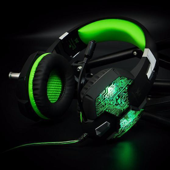 ゲーミングステレオヘッドホン ゲーム ヘッドセット 高音質 マイク LEDライト 手元コントローラー 快適装着 グリーン/緑 PC/PS4/XBOX_画像5