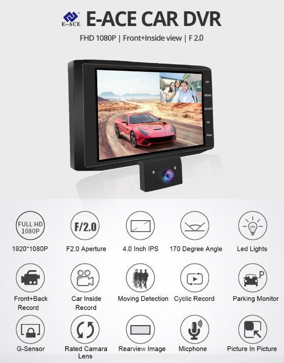 ドライブレコーダー 前後2カメラ 車載カメラ Gセンサー 1080P フルHD 駐車監視 モーション検知 ナイトビジョン ブラック_画像3