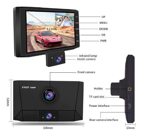 ドライブレコーダー 前後2カメラ 車載カメラ Gセンサー 1080P フルHD 駐車監視 モーション検知 ナイトビジョン ブラック_画像10