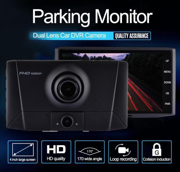 ドライブレコーダー 前後2カメラ 車載カメラ Gセンサー 1080P フルHD 駐車監視 モーション検知 ナイトビジョン ブラック_画像1