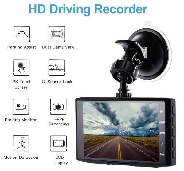 ドライブレコーダー 前後2カメラ 車載カメラ Gセンサー 1080P フルHD 駐車監視 モーション検知 ナイトビジョン ブラック_画像5