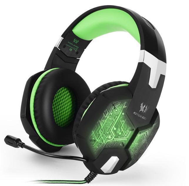 ゲーミングステレオヘッドホン ゲーム ヘッドセット 高音質 マイク LEDライト 手元コントローラー 快適装着 グリーン/緑 PC/PS4/XBOX_画像1