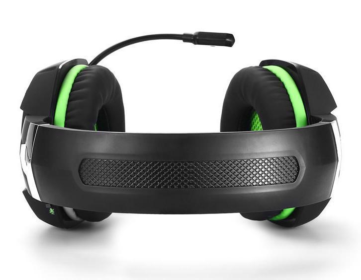 ゲーミングステレオヘッドホン ゲーム ヘッドセット 高音質 マイク LEDライト 手元コントローラー 快適装着 グリーン/緑 PC/PS4/XBOX_画像3
