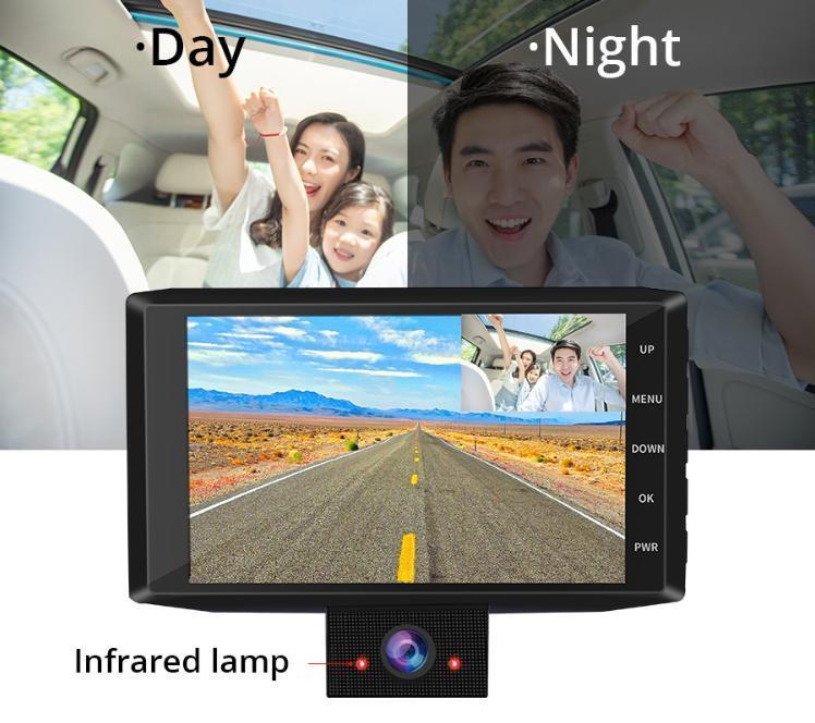 ドライブレコーダー 前後2カメラ 車載カメラ Gセンサー 1080P フルHD 駐車監視 モーション検知 ナイトビジョン ブラック_画像4