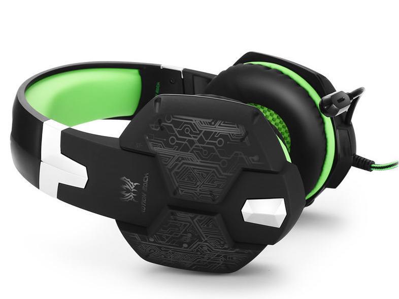 ゲーミングステレオヘッドホン ゲーム ヘッドセット 高音質 マイク LEDライト 手元コントローラー 快適装着 グリーン/緑 PC/PS4/XBOX_画像2