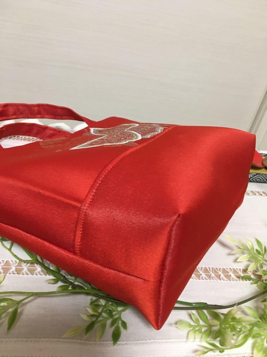 帯リメイクバッグ 赤地に蝶々  ミニトートバッグ バッグインバッグ サブバッグ ハンドメイド 帯バッグ 帯バック