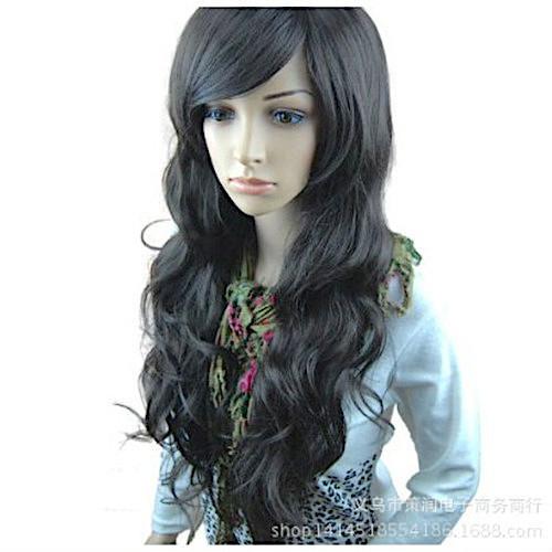 ブラック ゆるふわ ウィッグ ロング カール フルウイッグ 前髪 長め レディース 女っぽくもカジュアル_画像3