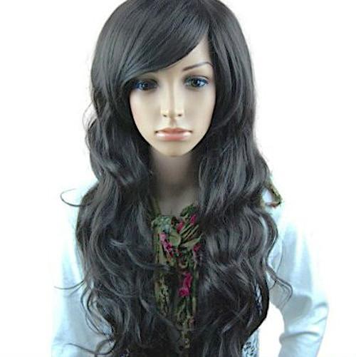 ブラック ゆるふわ ウィッグ ロング カール フルウイッグ 前髪 長め レディース 女っぽくもカジュアル_画像2
