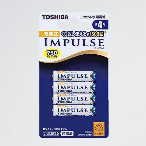 好評 ニッケル水素電池 TOSHIBA 1-LK TNH-4A 4P 充電式IMPULSE 単4形充電池(min.750mAh) 4本_画像1