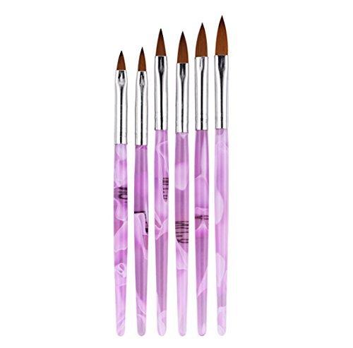 式一 Yiteng ネイルブラシ ジェルネイル ネイル スカルプ ピンク キャップ付き ネイルアート専用ブラシ×6本セット_画像6