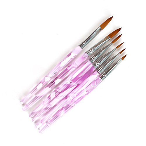 式一 Yiteng ネイルブラシ ジェルネイル ネイル スカルプ ピンク キャップ付き ネイルアート専用ブラシ×6本セット_画像1