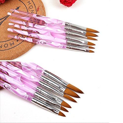 式一 Yiteng ネイルブラシ ジェルネイル ネイル スカルプ ピンク キャップ付き ネイルアート専用ブラシ×6本セット_画像2