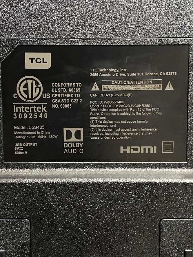 TCL 55S405 55インチ 55型 液晶 テレビ TV スマートテレビ 難有 動作OK USED 中古_画像9