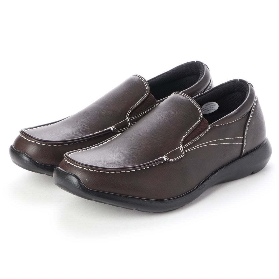 【安い】【超軽量】【防水】【幅広】GRAVITY FREE メンズ ウォーキング ビジネスシューズ 紳士靴 革靴 606 スリッポン ブラウン 茶 26.0cm