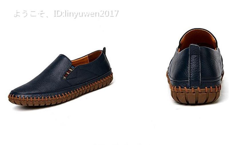 スリッポン 新品*メンズ ローファー ドライビングシューズ 紳士靴 カジュアル 滑り止め 柔らかい 通学 ネイビー 25.0cm_画像4