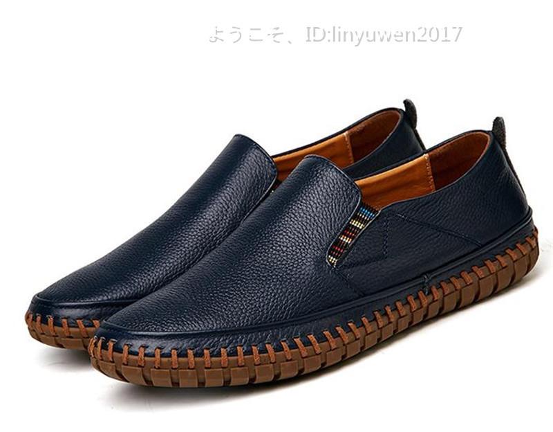 スリッポン 新品*メンズ ローファー ドライビングシューズ 紳士靴 カジュアル 滑り止め 柔らかい 通学 ネイビー 25.0cm_画像3