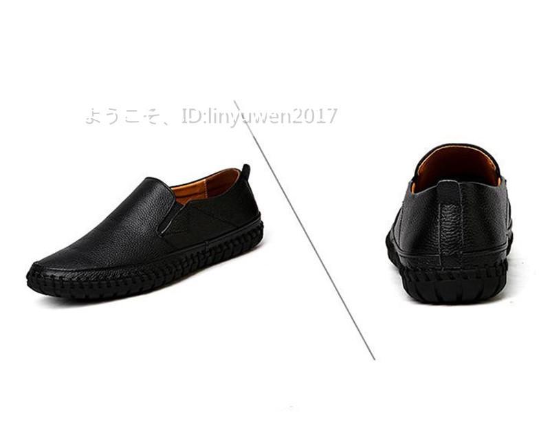 スリッポン 新品*メンズ ローファー ドライビングシューズ 紳士靴 カジュアル 滑り止め 柔らかい 通学 黒 25.0cm_画像3