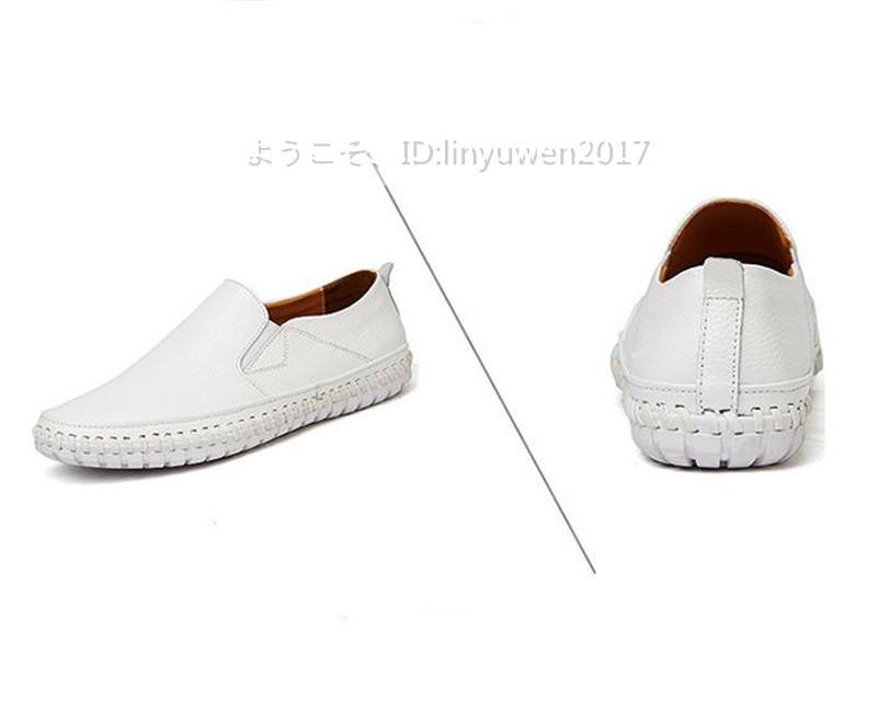 スリッポン 新品*メンズ ローファー ドライビングシューズ 紳士靴 カジュアル 滑り止め 柔らかい 通学 白 25.0cm_画像6