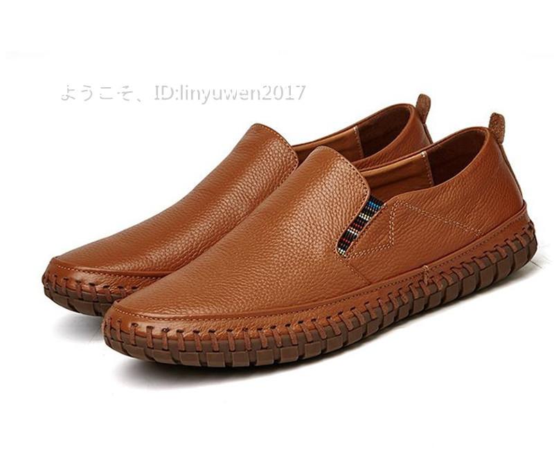 スリッポン 新品*メンズ ローファー ドライビングシューズ 紳士靴 カジュアル 滑り止め 柔らかい 通学 ブラウン 25.5cm_画像4