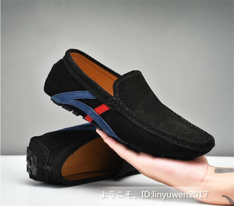 ローファー メンズ 紳士靴 カジュアル スリッポン ドライビングシューズ 滑り止め 柔らかい 「24cm-29.5cm選択可」黒 27.5cm_画像1