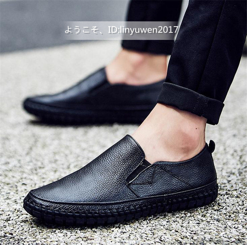 スリッポン 新品*メンズ ローファー ドライビングシューズ 紳士靴 カジュアル 滑り止め 柔らかい 通学 黒 26.5cm_画像2