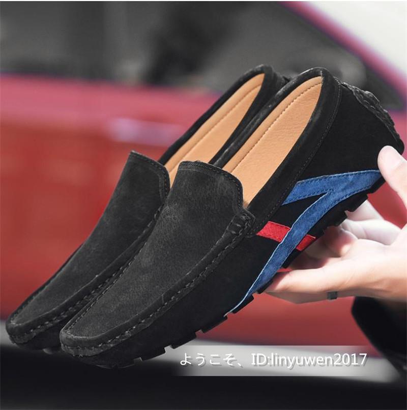 ローファー メンズ 紳士靴 カジュアル スリッポン ドライビングシューズ 滑り止め 柔らかい 「24cm-29.5cm選択可」黒 27.5cm_画像2